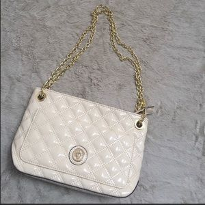 Ivory Patent Quilted Purse with Gold Chain
